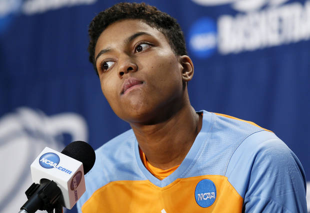 Tennessee's Kamiko Williams (4) listens to a question from the media during the press conference and practice day at the Oklahoma City Regional for the NCAA women's college basketball tournament at Chesapeake Energy Arena in Oklahoma City, Saturday, March 30, 2013. Photo by Nate Billings, The Oklahoman