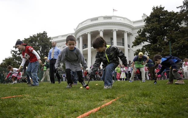 Children participate in the annual White House Easter Egg Roll on the South Lawn of the White House in Washington, Monday, April, 1, 2013. (AP Photo/Pablo Martinez Monsivais)