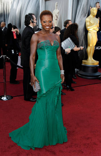 Viola Davis arrives before the 84th Academy Awards on Sunday, Feb. 26, 2012, in the Hollywood section of Los Angeles. (AP Photo/Matt Sayles) ORG XMIT: OSC146