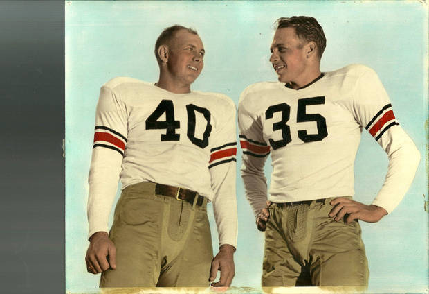 Kenneth Roof, No. 40, and his brother, Ed Roof, No. 35, were temmates at Oklahoma A&M and started in the same backfield in the late '40s. <strong>Photo provided</strong>