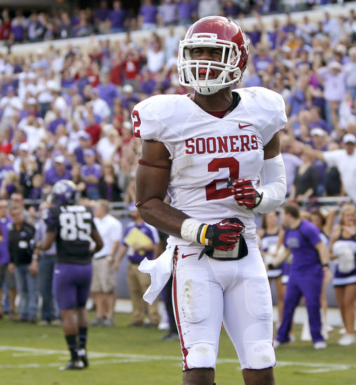 Oklahoma&#039;s Julian Wilson (2) celebrates after a failed scoring attempt by TCU in final seconds of the college football game between the University of Oklahoma Sooners (OU) and the Texas Christian University Horned Frogs (TCU) at Amon G. Carter Stadium in Fort Worth, Texas, Saturday, Dec. 1, 2012. Oklahoma won 24-17. Photo by Bryan Terry, The Oklahoman