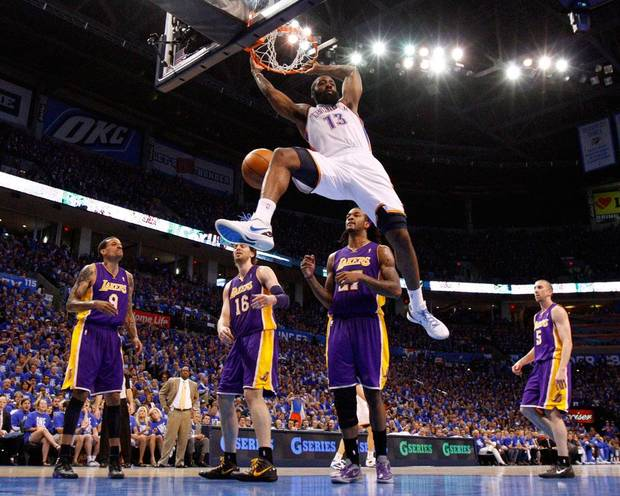 Oklahoma City's James Harden (13) dunks the ball as Los Angeles' Matt Barnes (9), Pau Gasol (16), Jordan Hill (27), and Steve Blake (5) watch during Game 1 in the second round of the NBA playoffs between the Oklahoma City Thunder and L.A. Lakers at Chesapeake Energy Arena in Oklahoma City, Monday, May 14, 2012. Photo by Bryan Terry, The Oklahoman