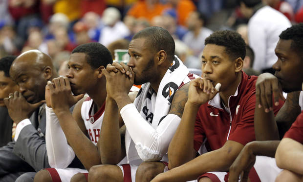 The Oklahoma bench watches the last seconds of the Phillips 66 Big 12 Men's basketball championship tournament game between the University of Oklahoma and Iowa State at the Sprint Center in Kansas City, Thursday, March 14, 2013. Photo by Sarah Phipps, The Oklahoman