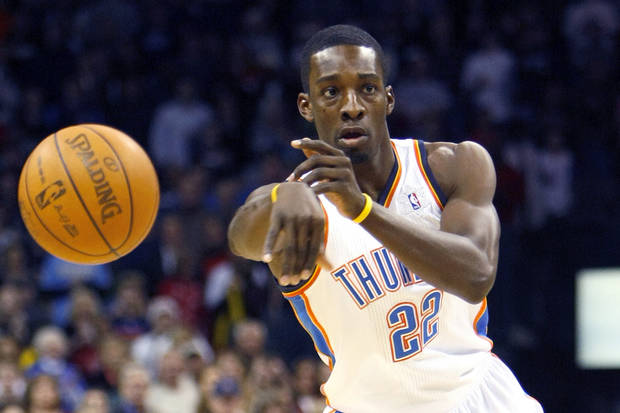 Oklahoma City's Jeff Green passes the ball during the Thunder - Nuggets game Saturday, December 25, 2010 at the Oklahoma City Arena. Photo by Hugh Scott, The Oklahoman