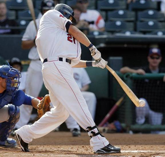 Oklahoma City's Steve Murphy (21) breaks his bat in the seventh inning during the minor league baseball game between the Omaha Royals and Oklahoma City RedHawks at the Bricktown Ballpark in Oklahoma City, Monday, July 6, 2009. Photo by Nate Billings, The Oklahoman  ORG XMIT: KOD