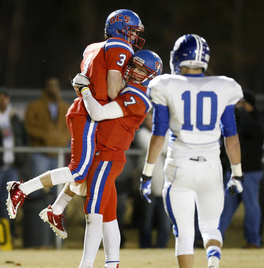 Oklahoma Christian School's Will McKinnis , left, and Blake Barnes celebrate after McKinnis caught a touchdown pass against Stroud during a high school football playoff game in Edmond, Friday, Nov. 23, 2012. Photo by Bryan Terry, The Oklahoman