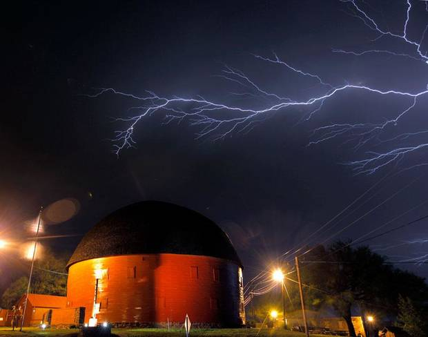 Lightning over the Round Barn in Arcadia, Okla., Sunday, April 26, 2009. Photo by Bryan Terry, The Oklahoman