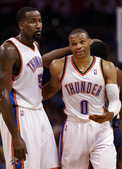 Oklahoma City Thunder's Kendrick Perkins (5) and Russell Westbrook (0) talk during a time out as the Oklahoma City Thunder play the Atlanta Hawks in NBA basketball at the Chesapeake Energy Arena in Oklahoma City, on Sunday, Nov. 4, 2012.  Photo by Steve Sisney, The Oklahoman