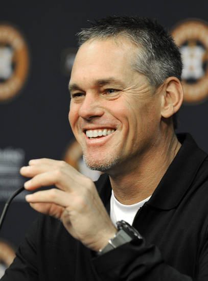 Former Houston Astros player Craig Biggio, who received the highest vote total in the Baseball Hall of Fame vote which ended with no one being elected, talks with the media during a news conference, Thursday, Jan. 10, 2013, in Houston. (AP Photo/Pat Sullivan)