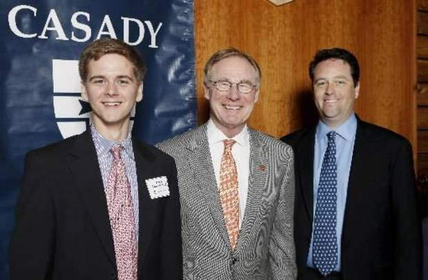Casady junior Scotie Conner, Burns Hargis, OklahomaState University    president, and Christopher Bright,  Casady headmaster, were at the   Casady School Board of Visitors and the Alumni Association%u2019s Casady   Club's luncheon in Casady%u2019s Calvert Hall. (Photo by Paul Southerland).