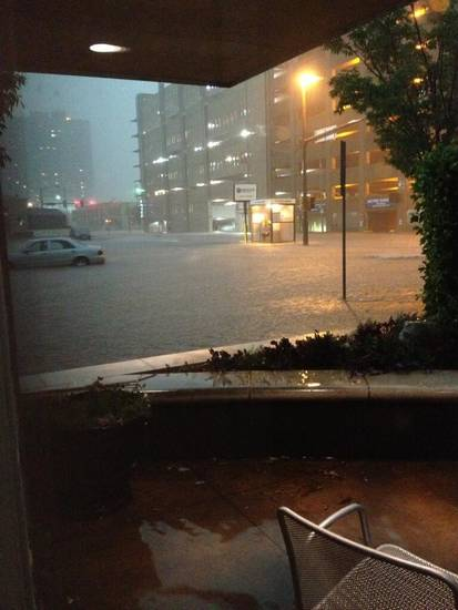 Flooding downtown at Robert S. Kerr and Hudson. Photo by Kim Haywood