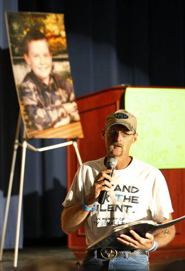 Kirk Smalley talks to students about bullying at Southeast High School. Smalley's son, Ty, killed himself because of bullying. Oklahoma City Public Schools has launched a new bullying hotline. <strong>David McDaniel - THE OKLAHOMAN</strong>