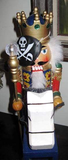 AHOY MATEYS...Even the nutcrackers had pirate's eye patches. (Photo by Helen Ford Wallace).