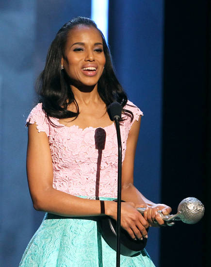 Kerry Washington accepts the President's award at the 44th Annual NAACP Image Awards at the Shrine Auditorium in Los Angeles on Friday, Feb. 1, 2013. (Photo by Matt Sayles/Invision/AP)