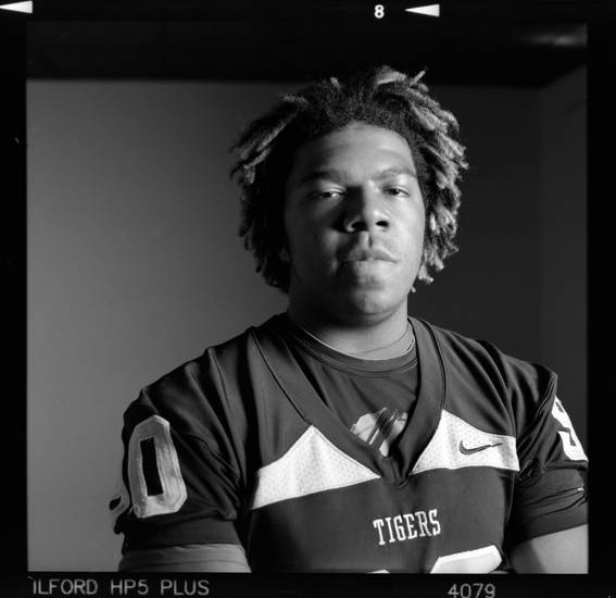 All-State high school football player Frankie Davis of Broken Arrow poses for a photo in Oklahoma City,  Monday, Dec. 17, 2012. Photo by Nate Billings, The Oklahoman