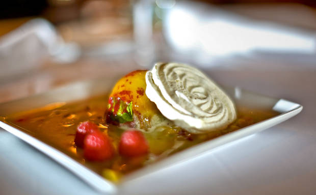 Seasonal Lime and Ginger Meringue with Apricot Sorbet Gelato prepared by chef Christine Dowd at The Metro Wine Bar and Bistro, where she is the new executive chef. <strong>CHRIS LANDSBERGER - THE OKLAHOMAN</strong>