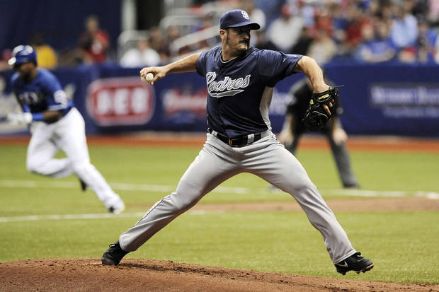 San Diego Padres' Jason Marquis pitches during an exhibition baseball game against the Texas Rangers, Saturday, March 30, 2013, at the Alamodome in San Antonio. Texas won 5-2. (AP Photo/Darren Abate)