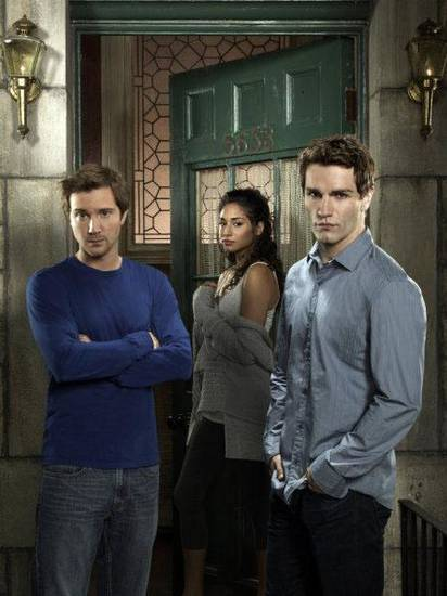 BEING HUMAN -- Season: 1 -- Pictured: (l-r) Sam Huntington as Josh, Meaghan Rath as Sally, Sam Witwer as Aidan -- Photo by: Jill Greenberg/Syfy