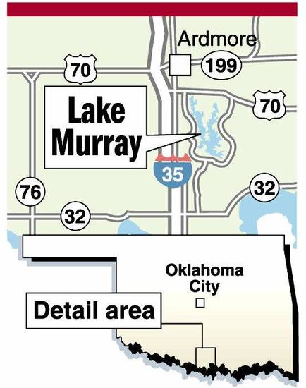 Lake Murray MAP / GRAPHIC: Ardmore, State highway 70, Highway 199, Highway 32, Highway 76, Interstate 35, I-35, Oklahoma City