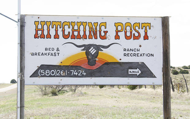 Hitching Post sign near Kenton, OK.  Photo By Sherrel Jones, The Oklahoman Archive &lt;strong&gt;Sherrel Jones - The Oklahoman&lt;/strong&gt;