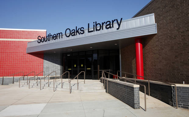 New sign and entrance at the remodeled Southern Oaks Library.  Photo by Paul B. Southerland, The Oklahoman <strong>PAUL B. SOUTHERLAND - PAUL B. SOUTHERLAND</strong>