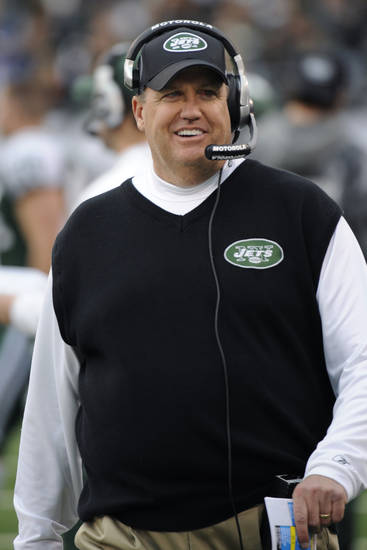 New York Jets coach Rex Ryan watches from the sideline during the first quarter of an NFL football game between the Buffalo Bills and the Jets at New Meadowlands Stadium, Sunday, Jan. 2, 2011, in East Rutherford, N.J. (AP Photo/Bill Kostroun) ORG XMIT: ERU116