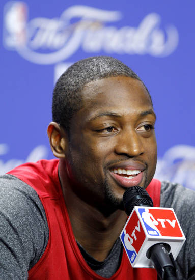 Miami's Dwyane Wade answers a question during a press conference for Game 5 of the NBA Finals between the Oklahoma City Thunder and the Miami Heat at American Airlines Arena, Wednesday, June 20, 2012. Photo by Bryan Terry, The Oklahoman