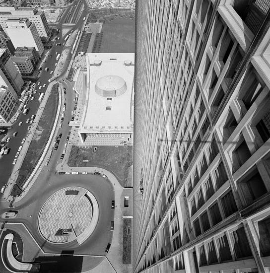 FILE - In this undated file photo, from the towering top of the United Nations Secretariat Building is seen the Security Council Building at top, center in New York. According to a hospital spokeswoman on Wednesday, Dec. 5, 2012, famed Brazilian architect Oscar Niemeyer has died at age 104. One of Niemeyer's hallmarks includes much of the United Nations complex. (AP Photo, File)