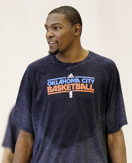 Kevin Durant smiles after the Thunder practice Sunday, June 10, 2012. Photo by Doug Hoke, The Oklahoman