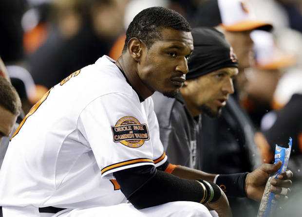 Baltimore Orioles' Adam Jones watches from the dugout in the ninth inning of Game 1 of the American League division baseball series against the New York Yankees, Sunday, Oct. 7, 2012, in Baltimore. New York won 7-2. (AP Photo/Patrick Semansky)