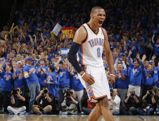 Oklahoma City's Russell Westbrook (0) reacts in the second half during game 7 of the NBA basketball Western Conference semifinals between the Memphis Grizzlies and the Oklahoma City Thunder at the OKC Arena in Oklahoma City, Sunday, May 15, 2011. The Thunder won, 105-90. Photo by Nate Billings, The Oklahoman