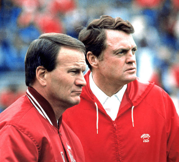 OU COLLEGE FOOTBALL: University of Oklahoma coach Barry Switzer and Nebraska coach Tom Osborne before the 1985 game (FILE PHOTO)