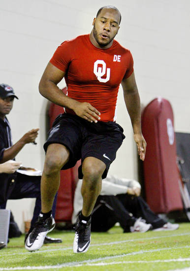 Jeremy Beal goes through shuttle drills during the University of Oklahoma pro timing day on Tuesday, March 8, 2011, in Norman, Okla. Photo by Steve Sisney, The Oklahoman