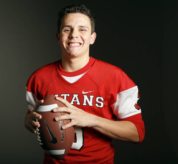 All-State and Big All-City high school  football player Stevie Thompson of Carl Albert poses for a photo in Oklahoma City Monday, Dec. 17, 2012. Photo by Nate Billings, The Oklahoman