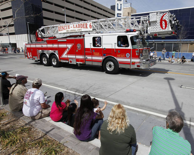 The Oklahoma City Fire Dept. led the annual Saint Patrick's Day Parade in downtown Oklahoma City, OK, Saturday, March 16, 2013,  By Paul Hellstern, The Oklahoman