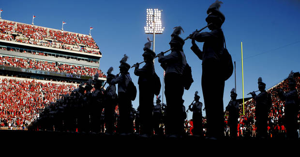 The Pride of Oklahoma performs before the college football game between the University of Oklahoma Sooners (OU) and Florida A&M Rattlers at Gaylord Family�Oklahoma Memorial Stadium in Norman, Okla., Saturday, Sept. 8, 2012. Photo by Bryan Terry, The Oklahoman