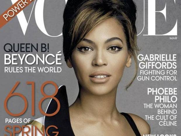 This magazine cover image released by Vogue shows singer Beyonce on the March 2013 issue of the popular fashion magazine. (AP Photo/Vogue)