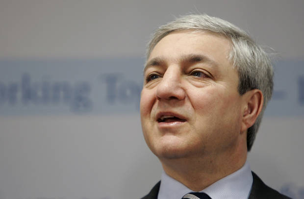 FILE - In this March 7, 2007 file photo, Penn State University President Graham Spanier speaks during a news conference at the Penn State Milton S. Hershey Medical Center in Hershey, Pa. A year after retired assistant coach Jerry Sandusky�s arrest on child sex abuse charges, the fallout from the sweeping scandal promises to linger for months, if not years, to come. New charges that former university president Spanier conspired to conceal allegations provided the latest agonizing reminder. (AP Photo/Carolyn Kaster, File)