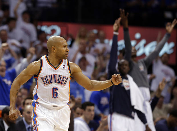 Oklahoma City's Derek Fisher (6) celebrates a three-point shot  during Game 2 in the second round of the NBA playoffs between the Oklahoma City Thunder and the Memphis Grizzlies at Chesapeake Energy Arena in Oklahoma City, Tuesday, May 7, 2013. Photo by Sarah Phipps, The Oklahoman