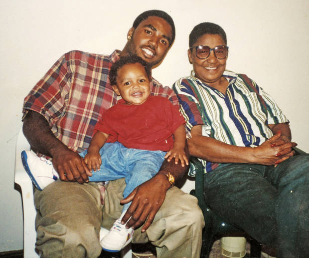Quintaz Struble with his father Mandrell Dean, and Mandrell's mother, Loyce Dean. Photo provided