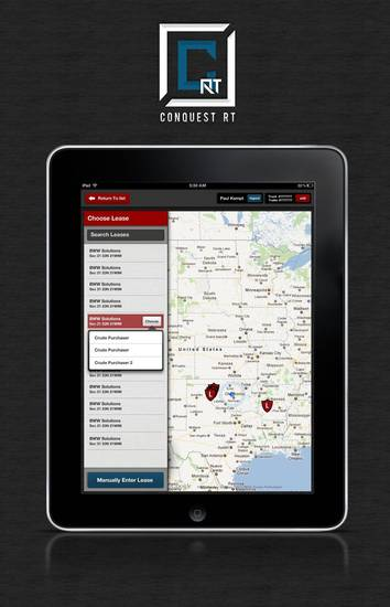 A screen shot of the Conquest RT iPad application shows some of the data that truckers will see when filling out electronic invoices when making oil purchases. PHOTO PROVIDED. <strong></strong>
