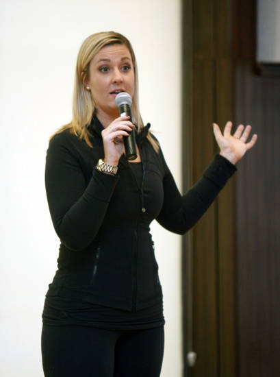 Hannah Curlee speaks at the annual Edmond Area Chamber of Commerce Leadership Conference for Woman. PHOTO BY PAUL HELLSTERN, THE OKLAHOMAN
