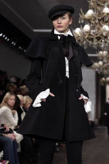 The Ralph Lauren Fall 2013 collection is modeled during Fashion Week in New York,  Thursday, Feb. 14, 2013. (AP Photo/Richard Drew)