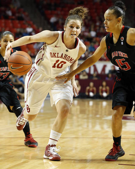Oklahoma Sooner's Morgan Hook (10) dribbles guarded by Tech's Casey Morris (15) as the University of Oklahoma Sooners (OU) play the Texas Tech Lady Red Raiders in NCAA, women's college basketball at The Lloyd Noble Center on Saturday, Jan. 12, 2013 in Norman, Okla. Photo by Steve Sisney, The Oklahoman