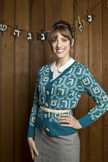 The Spinster Chanukah sweater is sold at www.geltfiend.com. <strong></strong>