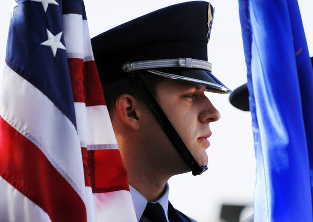 An Honor Guard from Tinker Air Force Base was one of a dozen guards who participated in the massing of the colors at the beginning of the Memorial Day Ceremony on the grounds of the 45th Infantry Division Museum  on Monday,  May 28,  2012,  Photo by Jim Beckel, The Oklahoman
