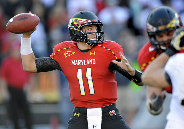 Maryland quarterback Perry Hills (11) looks to pass during the first half of an NCAA football game against Wake Forest, Saturday, Oct. 6, 2012, in College Park, Md. (AP Photo/Nick Wass)