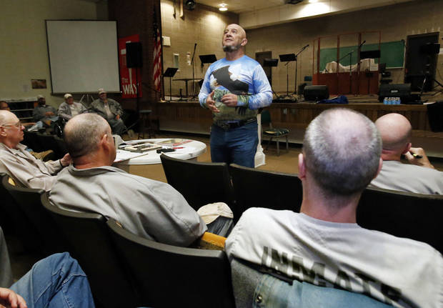Veteran Ronald Pandos talks with incarcerated veterans during the inaugural Battle Buddies meeting at James Crabtree Correctional Facility on Wednesday, Dec. 19, 2012 in Helena, Okla.  Photo by Steve Sisney, The Oklahoman