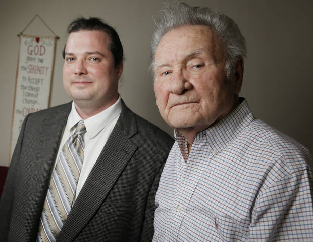 Dr. C.J. Shaw, an addictionologist, right, and Forrest Coin, a recovering addict, pose for a photo at Dr. Shaw's office, 10802 Quail Plaza Dr., in Oklahoma City, Friday, March 2, 2012. Photo by Nate Billings, The Oklahoman