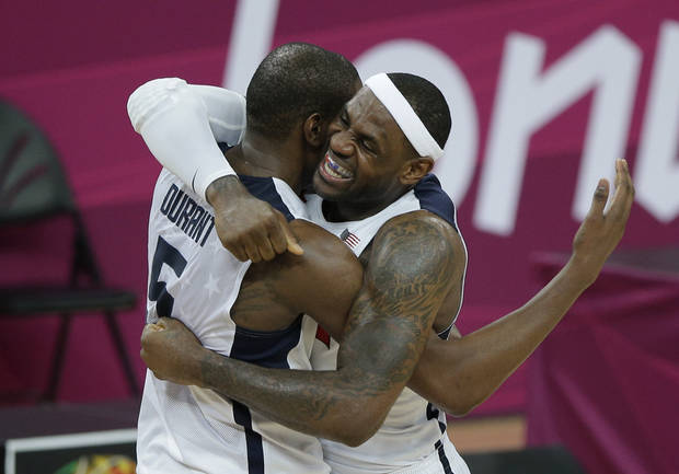 United States' LeBron James and Kevin Durant celebrate after the United States defeated Spain to win the men's gold medal basketball game at the 2012 Summer Olympics, Sunday, Aug. 12, 2012, in London. (AP Photo/Morry Gash)